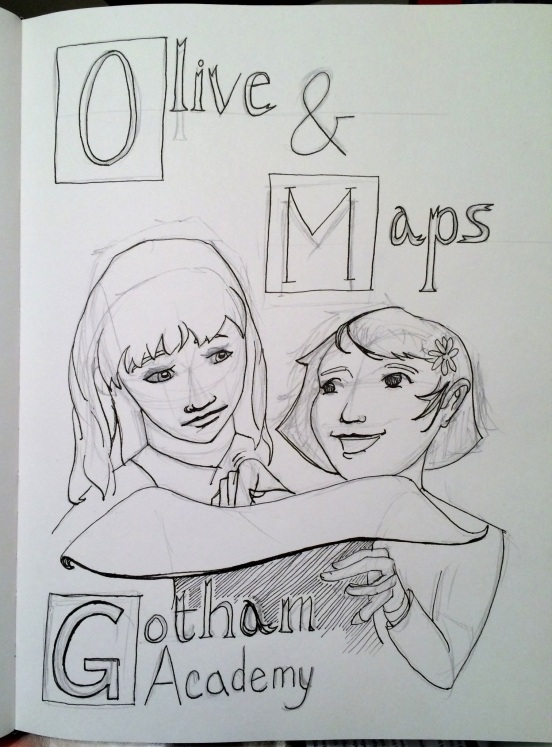 Olive and Maps ink and pencil