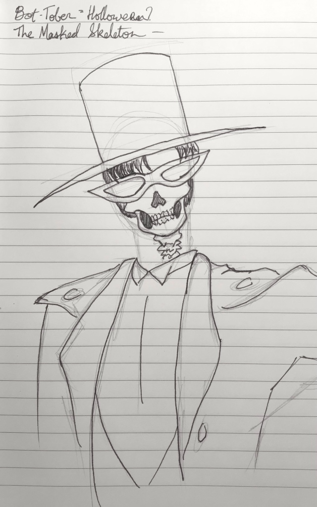 Drawing of a skeleton dressed in a tuxedo with an eye-mask, a top hat, and cape.